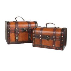 Quickway Imports Decorative Leather Treasure Box (Set of 2)