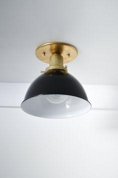 Dome Brass black white Industrial modern wall sconce ceiling light lamp.  Semi-flush Mount.