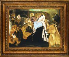 Joarez Filho, Daniel na Cova dos Leões, Óleo Sobre Tela, 75 x 100 cm + Moldura. Última obra de pintura realista do artista antes de partir para o Figurativo Contemporâneo. Pintada nos Estados Unidos em 2004. Certificado de Autenticidade pelo Artista.