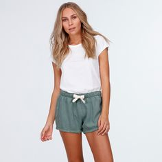 BILLABONG WOMEN'S SALT WRECKED SHORTRelaxed Pull On Short.Elasticated Waistband With Drawcord Waist Tie.Raw Frayed Hem. Inseam 9cm, Outseam 29cm, Front ...