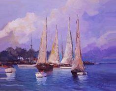 """Saatchi Art Artist Andres Vivo; Painting, """"3965  4 Sails   Bender shipbuilders"""" #art"""