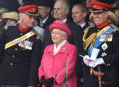 The Queen and Prince Andrew were in good spirits as they attended The Royal Lancers amalgamation parade at Richmond Castle in North Yorkshire this afternoon, 2 May 2015.  The Queen wore pink for the occasion of the birth of the new Princess of Cambridge, her 4th great-granddaughter (after Savannah, Isla and Mia), Prince George is still the only boy of that generation!!