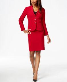 16a7aa7c7f4 Tahari Asl Petite Crepe Solid Skirt Suit Petite Suits