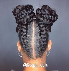 Black Braided Pigtail Buns
