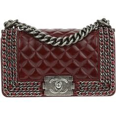 Pre-owned Chanel Burgundy Aged Calfskin Triple Chain Small Boy Bag ($3,425) ❤ liked on Polyvore featuring bags, handbags, chanel, bolsas, purses, chanel bags, flap handbags, chanel handbags, chain strap handbags and chain purse