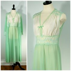 Vintage Peignoir Set, Celery Green Lace Nightgown and Robe by Graziella, Full Length Nightgown and Robe Lingerie Peignoir Set  Soft and lovely!