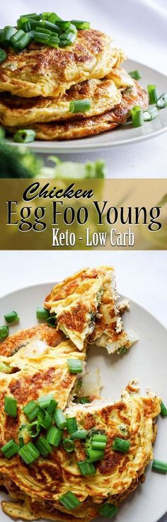 Fast and Easy Chicken Egg Foo Young - the classic traditional Chinese dish with a how to video: low carb and keto, and delicious too. (Keto Whole Chicken) Carb Free Recipes, Egg Recipes, Paleo Recipes, Asian Recipes, Chicken Recipes, Cooking Recipes, Egg Dinner Recipes, Chicken Breakfast Recipes, Keto Chicken
