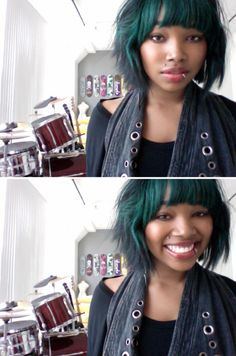 Green and black mini bob. This chick is one of my favorite people and her hair. Also green hair.