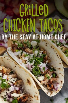 These Garlic Lime Grilled Chicken Tacos are so delicious and savory! Chicken is marinated in a juicy lime garlic sauce grilled and then served on warm tortillas for a taco treat everyone will love! by stayathomechef Read Grilled Chicken Tacos, Grilled Meat, Easy Baked Chicken, Baked Chicken Recipes, Chicken Dips, Mexican Food Recipes, Whole Food Recipes, Cooking Recipes, Recipes Dinner