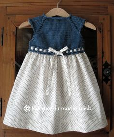 Abito bimba primavera, sprone a maglia blu denim, gonna cotone americano pois… [] # # # # # # thousands of images about Cute Crochet Bodice PillowcaseThis Pin was discovered by AnoHow to Crochet Baby Toddler Girl DressLinen and cotton dress, b Girls Spring Dresses, Girls Blue Dress, Dresses Kids Girl, Nice Dresses, Kids Outfits, Baby Outfits, Crochet Girls, Cute Crochet, Crochet Baby