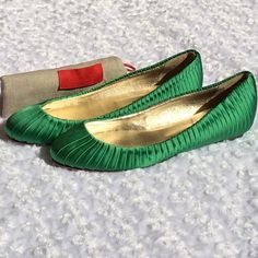 "|HP| GREEN VALENTINO FLATS Authentic -GORGEOUS Green satin Valentino round toe pleat details. New never worn. Faint scratches on the insole as well as sticker residue underneath. Faint indents across the toe. No box. Includes dust bag. Sz 7. IT 37 Heel .25"". -No trades. Valentino Shoes Flats & Loafers"