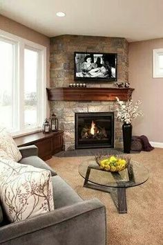 Corner Fireplace With Warm Cherry Wood Mantel Love This The Nice Window Seat By It