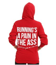 StyleStalker Runnings A Pain Sweatshirt Red - SKU 8436128. Work it out, girl. Soft french terry hoodie features a fun graphic at back. Attached hood with adjustable drawstrings. Banded cuffs and hemline. Long sleeves. Full zip-front placket. Split front kangaroo pocket. Straight hemline. 70% cotton, 30% polyester. #fitness #workout #cute