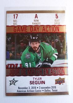 2017-18 Tyler Seguin Tim Hortons Game Day Action hockey card - #GDA-5 | eBay