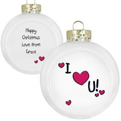 Personalised 'I Heart U' Design - Flat Faced Bauble  from Personalised Gifts Shop - ONLY £10.99