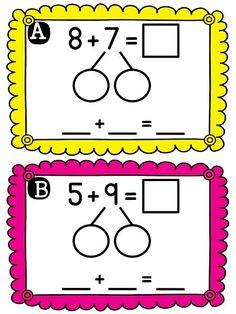 Making a 10 centers and worksheets to practice this tricky skill! Kids break apart the numbers to bridge to 10 then wipe the card when they're done Numbers For Kids, Math Numbers, Kids Math Worksheets, Math Activities, Second Grade Math, First Grade, Build Math Centers, Eureka Math, Singapore Math