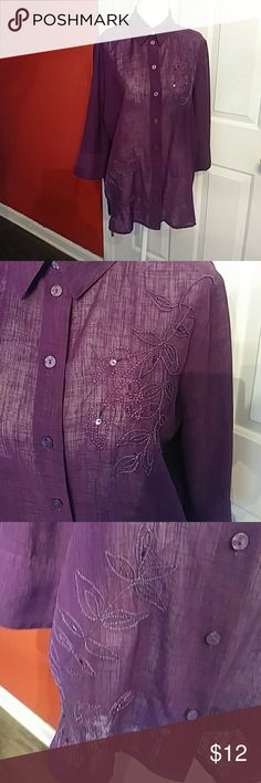 Alison Daley Sheer Purple Beaded Blouse Size 8 Alison Daley Blouse sheer material with 3/4 length sleeves. Has beaded floral trim. Very pretty in great condition. Size 8  Bundle 2 or more items for 10% off.  I ship quickly.  Thank you for visiting my closet. Visit often for more deals. Allison Daley Tops Button Down Shirts