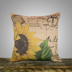 Sunflower Pillow Cover, Burlap Pillow, Cushion, Throw Pillow, French, Feed Sack, Flower,  Accent Pillow, Decorative, Script, Postcard, 16x16. $46.00, via Etsy.