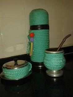 """Termo, mate y azucarera forrados al crochet. De """"Manos de Lana""""...mi 1º y único blog!"""