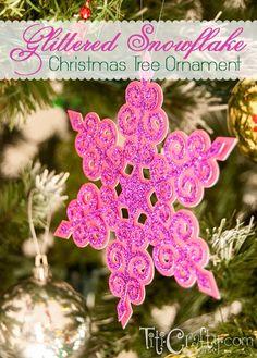 Glittered Snowflake Christmas Tree Ornamentby Cami @ TitiCrafty.com
