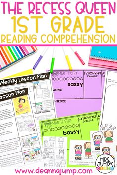 Looking for some fun first grade reading comprehension activities that focus on great first grade read alouds? With this resource, students can practice retelling, making predictions and other early reading comprehension skills with the read aloud The Recess Queen.