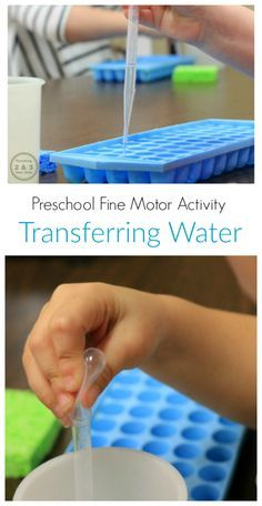 Fine Motor Activity Transferring Water.  Perfect for your special ed classroom.