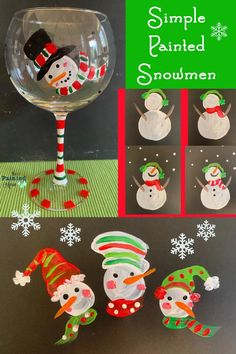 Fearless Friday, Simple Painted Snowmen | The Painted Apron Painting Tutorials, Art Tutorials, Snow Decorations, Fearless Friday, Pink Cheeks, Snow Art, Green Dot, Red Scarves, Winter Art