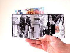 Portemonnaie THE WALKING DEAD Comic upcycling Unikat! Geldbörse, Brieftasche, Patte, Geldbeutel Zombie Comic wallet handmade in Berlin von PauwPauw auf Etsy