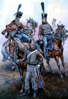 France - 2nd Regiment of Hussars in 1805 from left to right: trumpet, Hussain 3 companies (Central) 1 Squadron, Lieutenant. Fig. A. Yezhov.