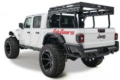 Manage your cargo area on your Jeep Gladiator JT with the Fab Fours' Overland Rack. This adaptable and expandable Overland Rack is constructed using heavy-duty 12 gauge Steel. This Rack holds Up to a capacity with the 2 included cross-members. Jeep Cars, Jeep Truck, Jeep Jt, Pickup Trucks, Jeep Wrangler Accessories, Truck Accessories, Jeep Gladiator, Cool Jeeps, Tonneau Cover