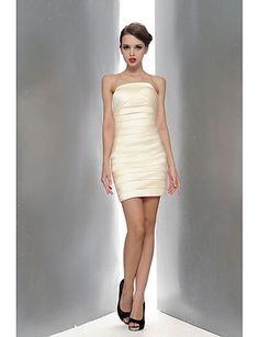 bainha / coluna strapless do joelho-comprimento vestido de cetim cocktail – EUR € 34.99