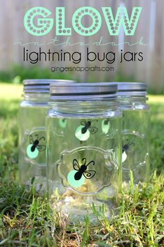 glow in the dark lightning bug jars made with the Silhouette & Vinyl at GingerSnapCrafts.com