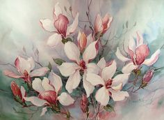 """Watercolor on paper of a flowering magnolia tree by Barbara Mock. Unframed. 30""""…"""
