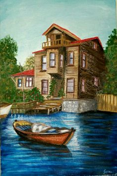Ahmet krtl Oil Painting Pictures, Cool Paintings, Watercolor Paintings, Nature Pictures, Art Pictures, Landscape Art, Landscape Paintings, Boat Drawing, Turkish Art