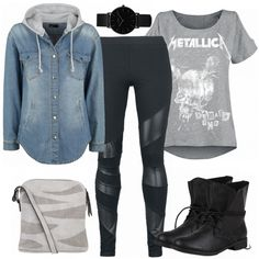 Moderner Rock-Look aus Jeanshemd, Metallica T-Shirt und schwarzen Stiefeletten... #fashion #fashionista #mode #damenmode #frauenmode #damenoutfit #frauenoutfit #outfit #outfitinspo