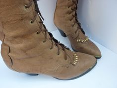 PRICE REDUCED Granny Boots 1980s Lace Up Ankle by ZoomVintage