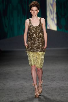 LOOK 31: Gold hammered bullion tank over chartreuse Indian brocade Bermuda with soutache tuxedo stripe | Photography: Dan Lecca