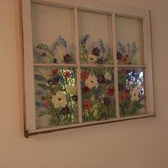 Old Painted window ideasShabby Chic decorFarmhouse Windows Old Windows Painted, Vintage Windows, Vintage Doors, Antique Doors, Window Pane Art, Old Window Art, Recycled Door, Monet, Art Original