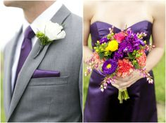 Dallas wedding photographer, bridesmaids bouquet, groomsmen boutonniere, purple wedding bouquet, purple bridesmaid dress, gray groomsmen tux, Countryside Wedding | Morton, IL » Mary Fields Photography