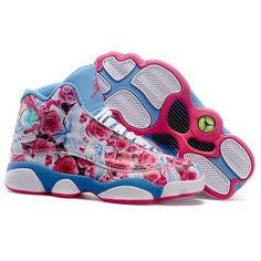 Women Air Jordan 13 Flower Blue WJ13-029 ❤ liked on Polyvore featuring shoes and jordans