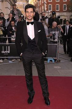 David Gandy SEPTEMBER 7 2010 - Working it in a sharp tuxedo at the GQ Men of the Year Awards.