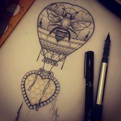 bee and balloon tattoo Jewel Tattoo, 1 Tattoo, Mom Tattoos, Body Art Tattoos, Sleeve Tattoos, Loki Tattoo, Air Balloon Tattoo, Lantern Tattoo, Female Tattoo Artists