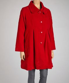 This Coline USA Red Flower Button-Up Coat - Women by Coline USA is perfect! #zulilyfinds