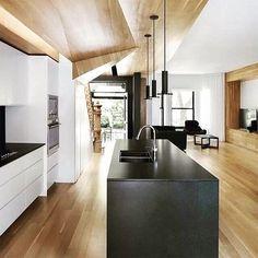 Modern ceiling design ideas kitchen design ideas with modern wood ceilings modern living room ceiling design White Interior Design, Interior Design Inspiration, Contemporary Interior, Modern Kitchen Design, Interior Design Kitchen, Minimal Kitchen, Kitchen Black, Modern Kitchens, Room Interior