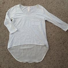 3/4 sleeve high low top Light gray and glitter 3/4 sleeve high low top. The back is sheer Tops
