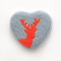 Felted Soap Grey Heart with Orange Deer MADE TO ORDER by SoFino, $18.00