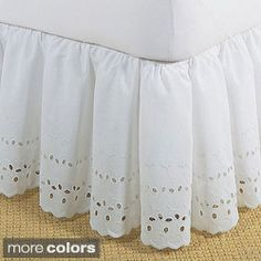 @Overstock - Give your bed a tailored look when you add this ruffled 18-inch bedskirt. This ruffled Lauren eyelet bedskirt is durable, soft, and machine-washable and is made from an easy-care blend of polyester and cotton for long-lasting good looks.http://www.overstock.com/Bedding-Bath/Ruffled-Lauren-Eyelet-18-inch-Bedskirt/3656874/product.html?CID=214117 $29.99