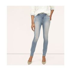 LOFT Tall Curvy Skinny Rip & Repair Jeans in Garden Blue Wash ($30) ❤ liked on Polyvore featuring jeans, garden blue wash, ripped denim jeans, stretch jeans, ripped jeans, torn skinny jeans and denim skinny jeans