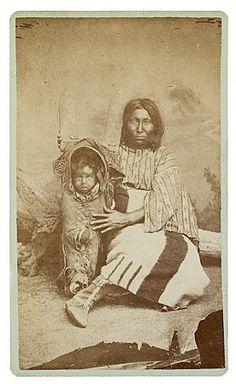 Comanche woman with son - circa 1874
