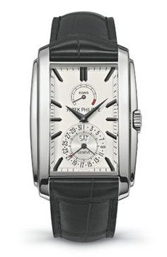 Patek Philippe Gondolo 8 Days Day-Date White Gold Men's watch equipped with Swiss made Patek Philippe 28-20 REC 8J PS IRM C J calibre manual movement. The 46.90 x 35.20 mm white gold rectangular case